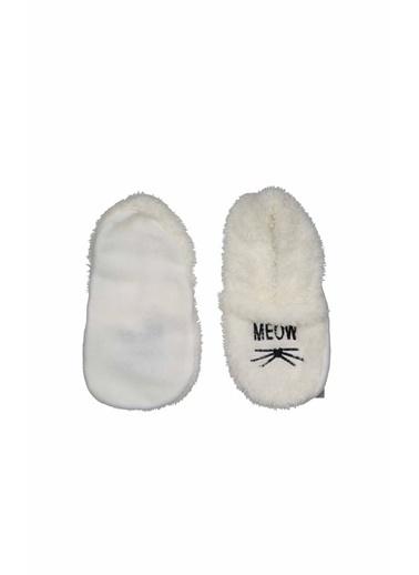 Collezione Collezione Meow Baskılı  Kadın Patik Çorap Ekru